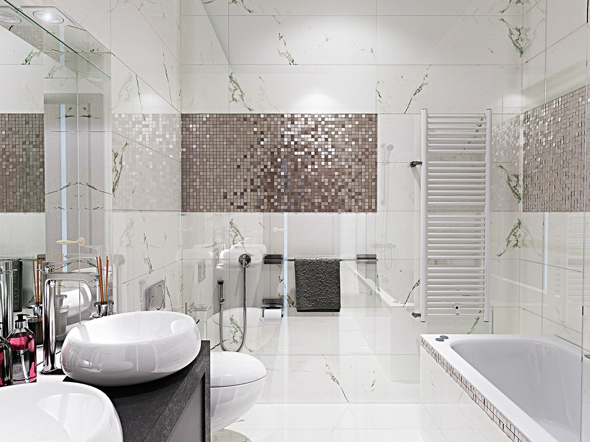 Contemporary Bathroom Designs Exposed Gray and White Color Decor ...