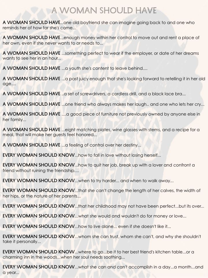 What every woman should have and know before she turns 30...