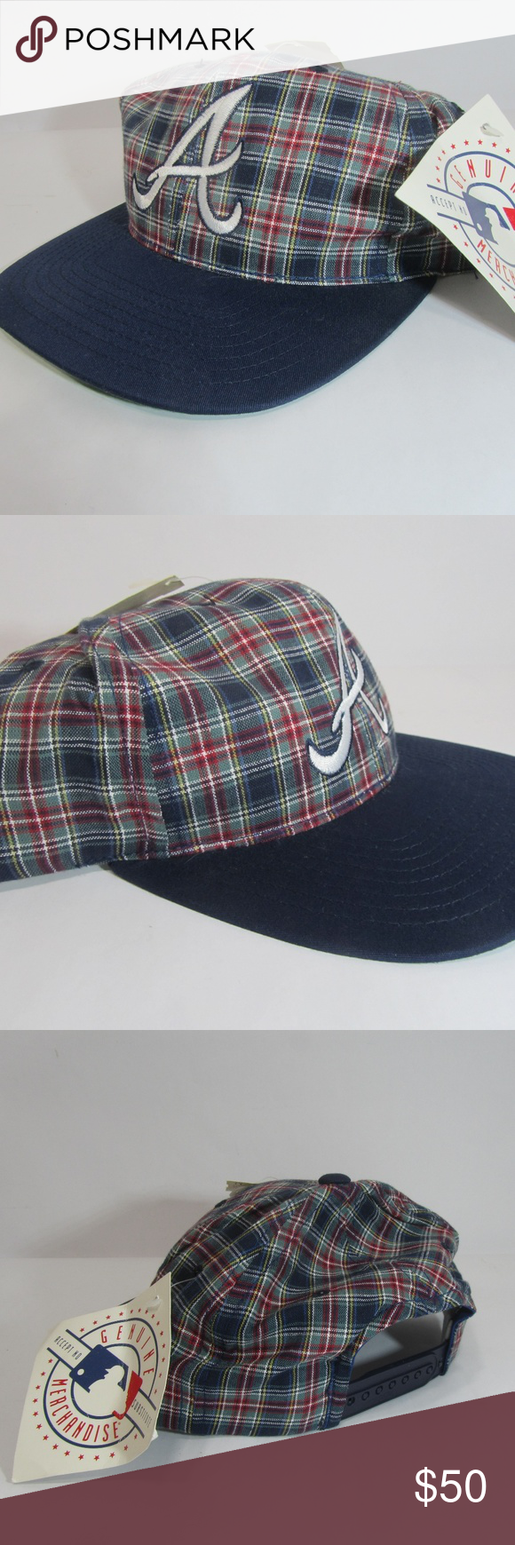New Vtg Hat Snapback Annco Plaid Atlanta Braves Nwt Hat Fashion Trendy Hat Outfits With Hats