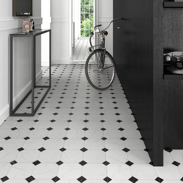 SomerTile Xinch Comarca Jet Blanco Ceramic Floor And - 13x13 white ceramic floor tile