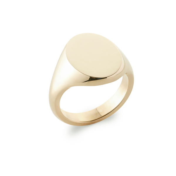 18ct Yellow Gold Signet Ring Oxford Oval Extra Heavy Rebus