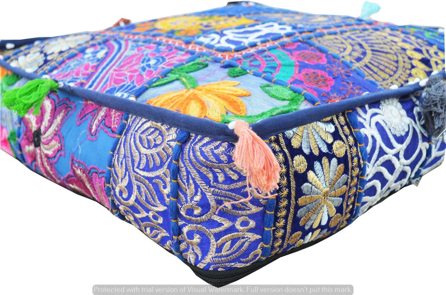 Phenomenal 16 Indian Bohemian Patchwork Large Floor Ottoman Pouf Gmtry Best Dining Table And Chair Ideas Images Gmtryco