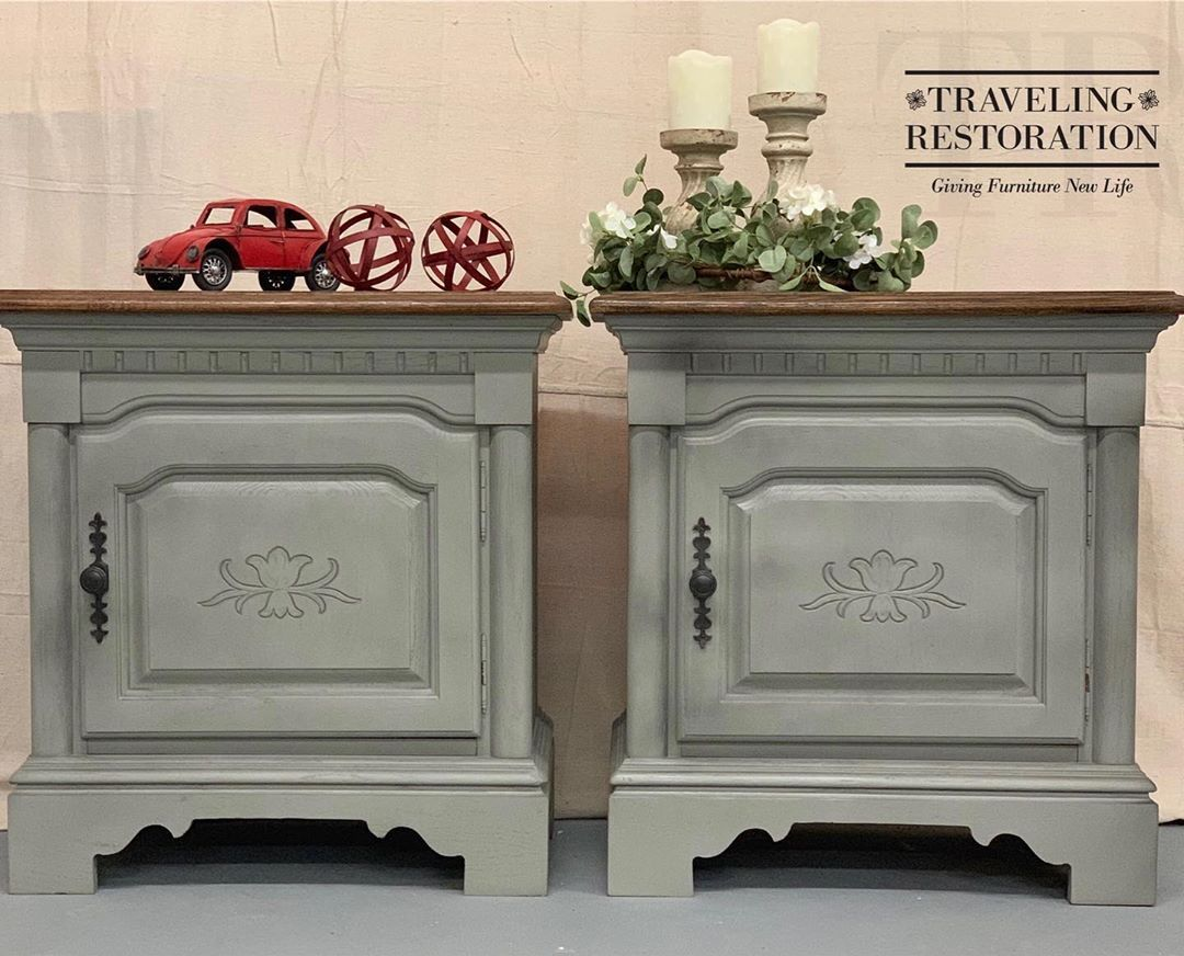 Let These Solid Oak Large Gray Distressed Nightstands Add A