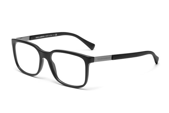 mens matte black acetate eyeglasses with squared frame and dolce gabbana logo on the temples visit dg eyewear website for more details