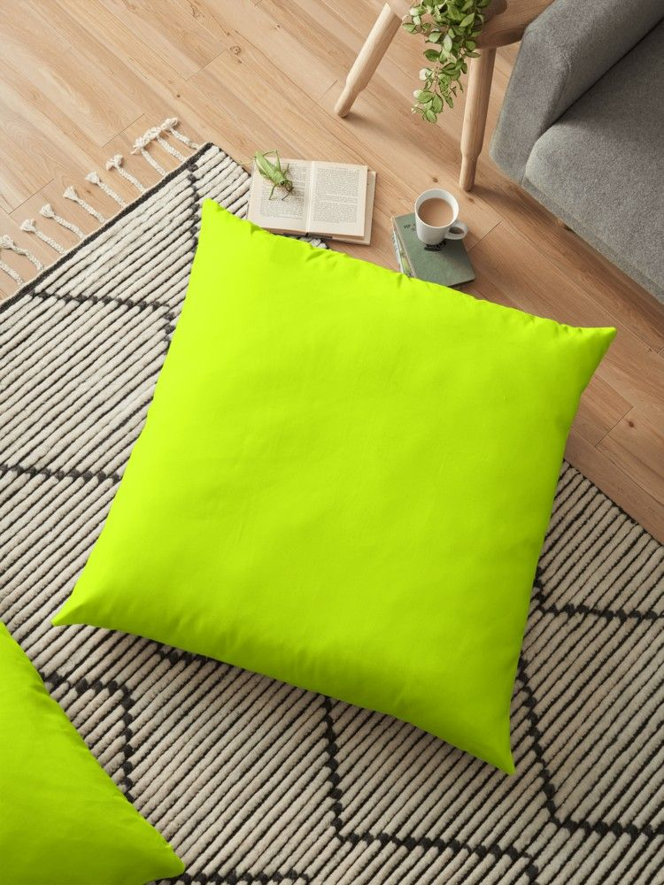 Bright Green Lime Neon Color Floor Pillow By Fuzzyfox Floor