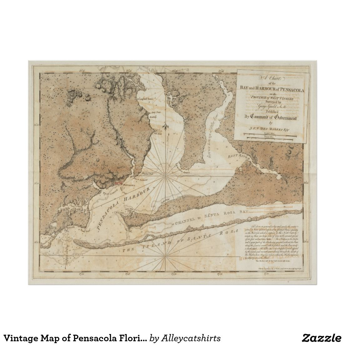 Map Of Pensacola Florida.Vintage Map Of Pensacola Florida 1780 Poster Vintage Map Posters