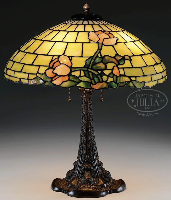 Duffner Kimberly Leaded Glass Table Lamp With Flowers