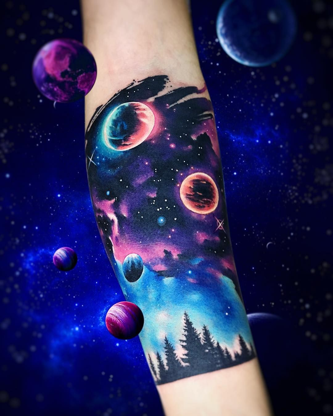 Galaxy half sleeve by adrian bascur tattoos for Outer space tattoo designs