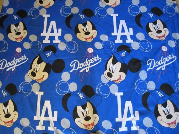Cotton 58 Disney Mickey Mouse Dodgers Los Angeles Fabric Big