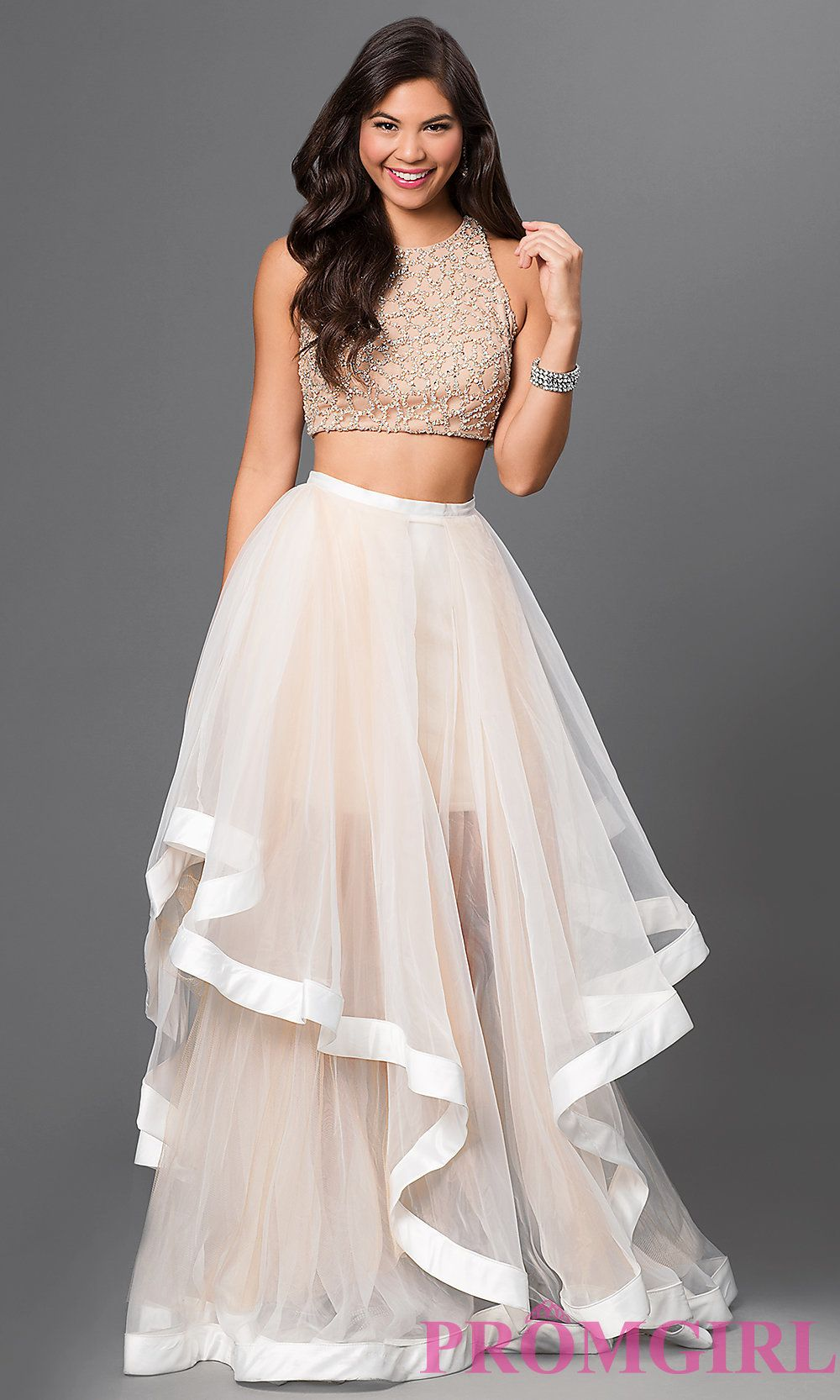 Image of two-piece dress with jewel embellished bodice Front Image ...