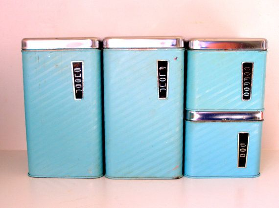 50's Kitchen Canisters, Turquoise Beautyware by Lincoln, made in USA.