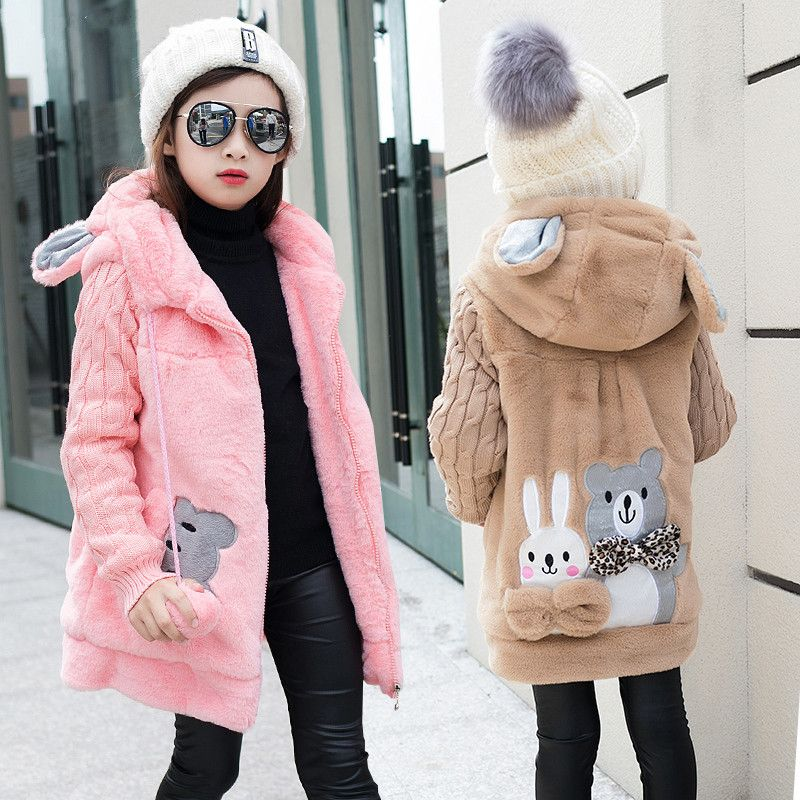 155a36891 Click to Buy    Lovely rabbit and little bear Winter Girls Faux Fur ...