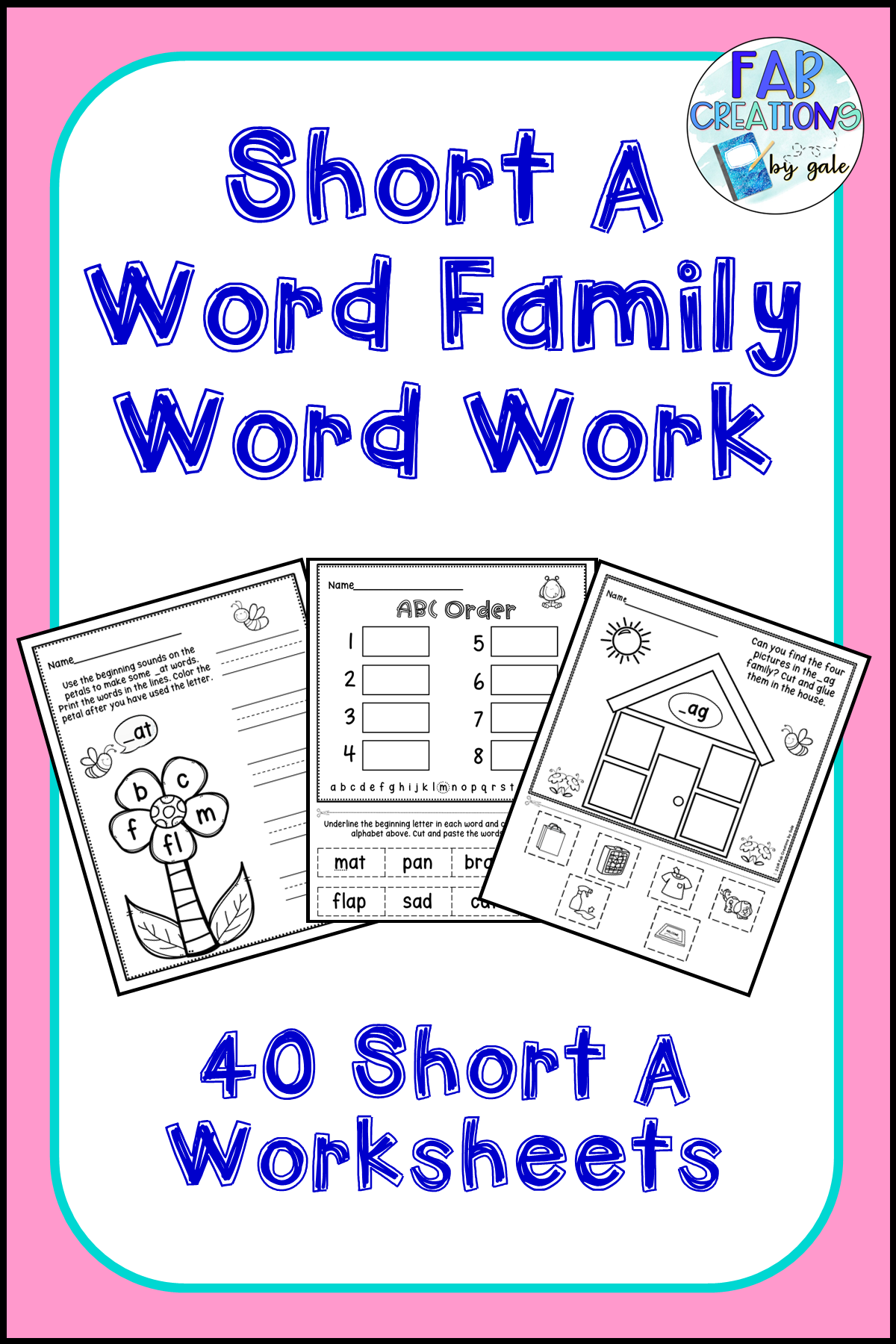 Short A Word Family Worksheets