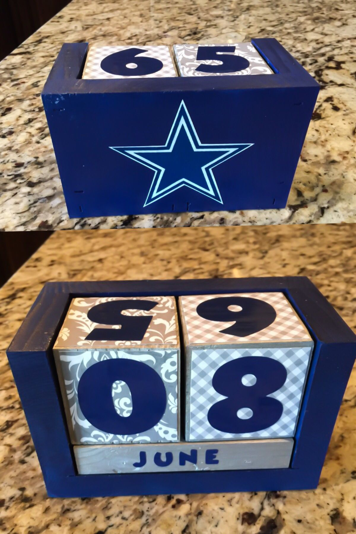 Dallas Cowboys Desk Calendar Blocks Wood Block Crafts Sports Decorations Team Sports Gifts