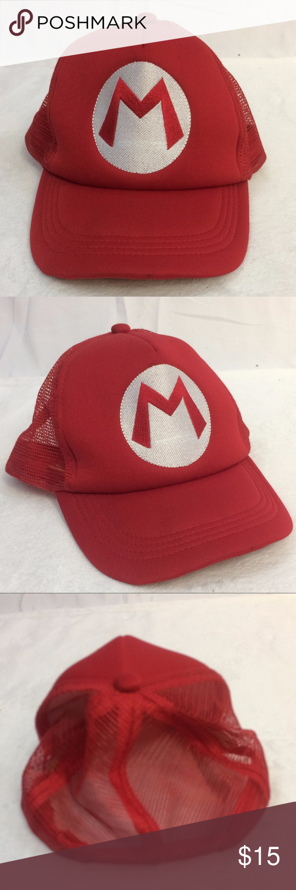 Super Mario Bros Nintendo Game Character Hat Os Mario Hat Trucker Style With Adjustable Back Mesh Bac Super Mario Bros Nintendo Super Mario Bros Mario Hat