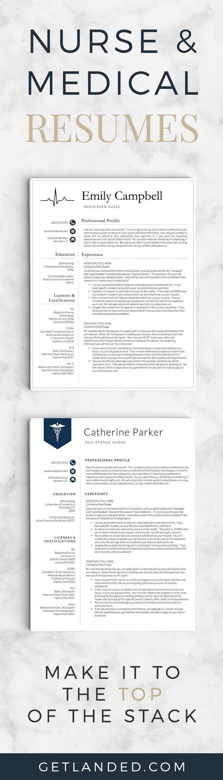 Nurse resume templates medical resumes resume
