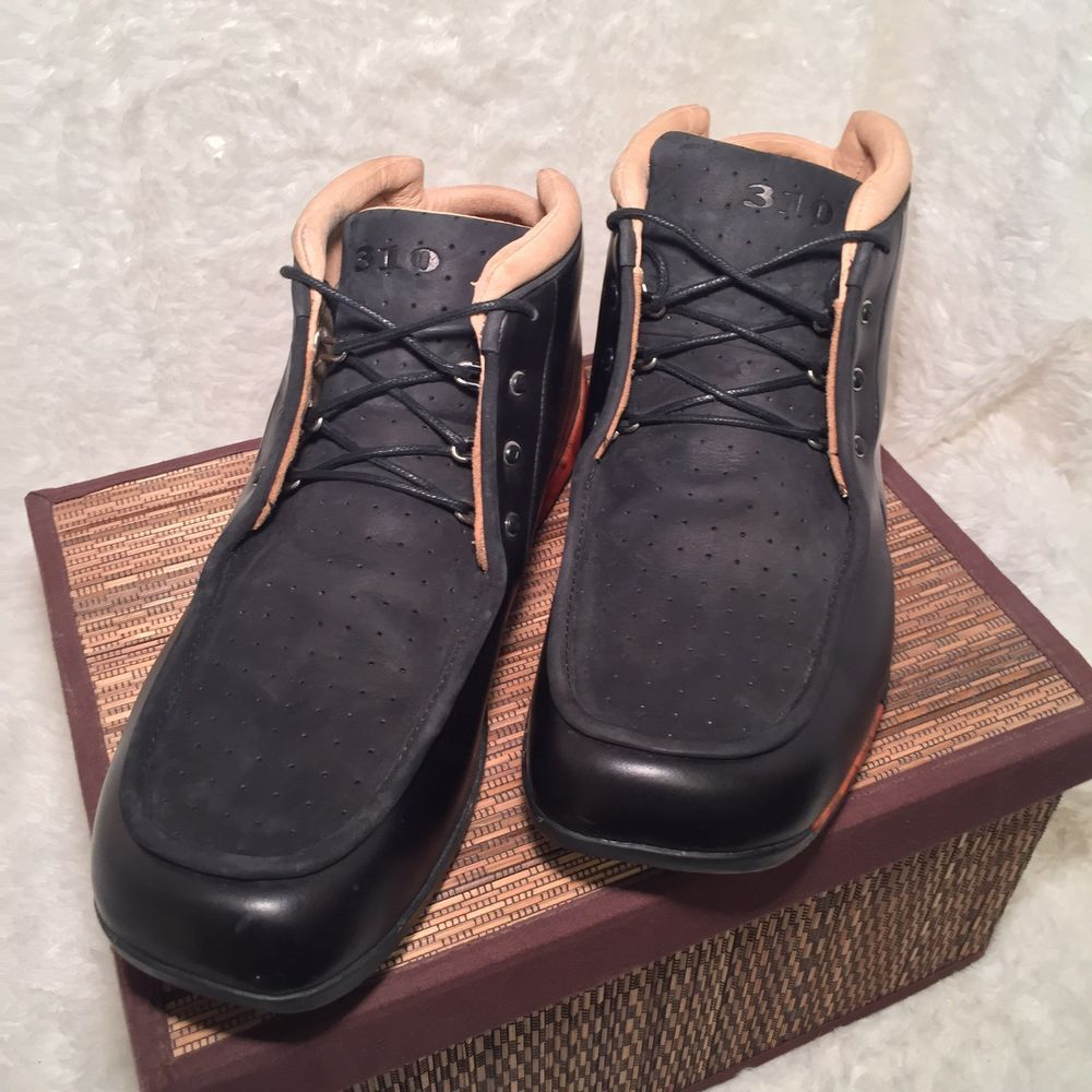 310 Motoring Casual Shoes Black Tan Woodgrain Leather Upper