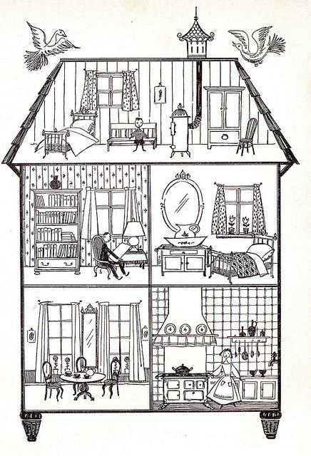 Dolls House L950s The Most Important Rooms Parlor Dining Bedroom And Kitchen House Illustration House Drawing Illustration