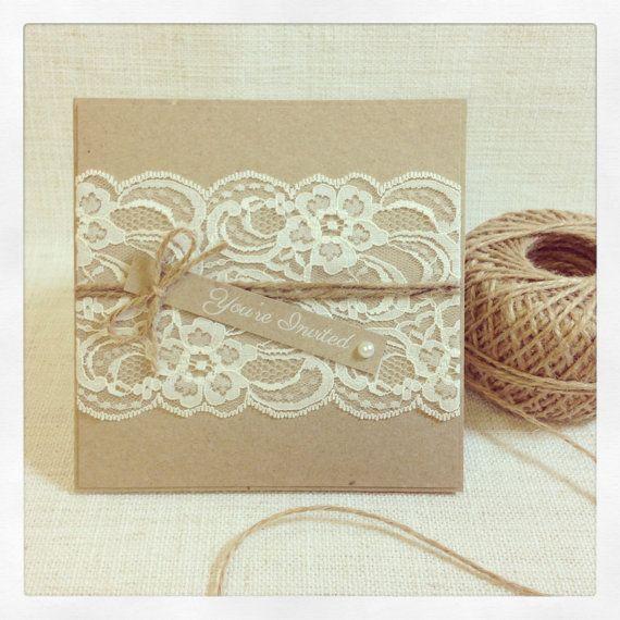 Items Similar To Rustic Wedding Invitation   Rustic Vintage Lace Square Invitation  SAMPLE On Etsy