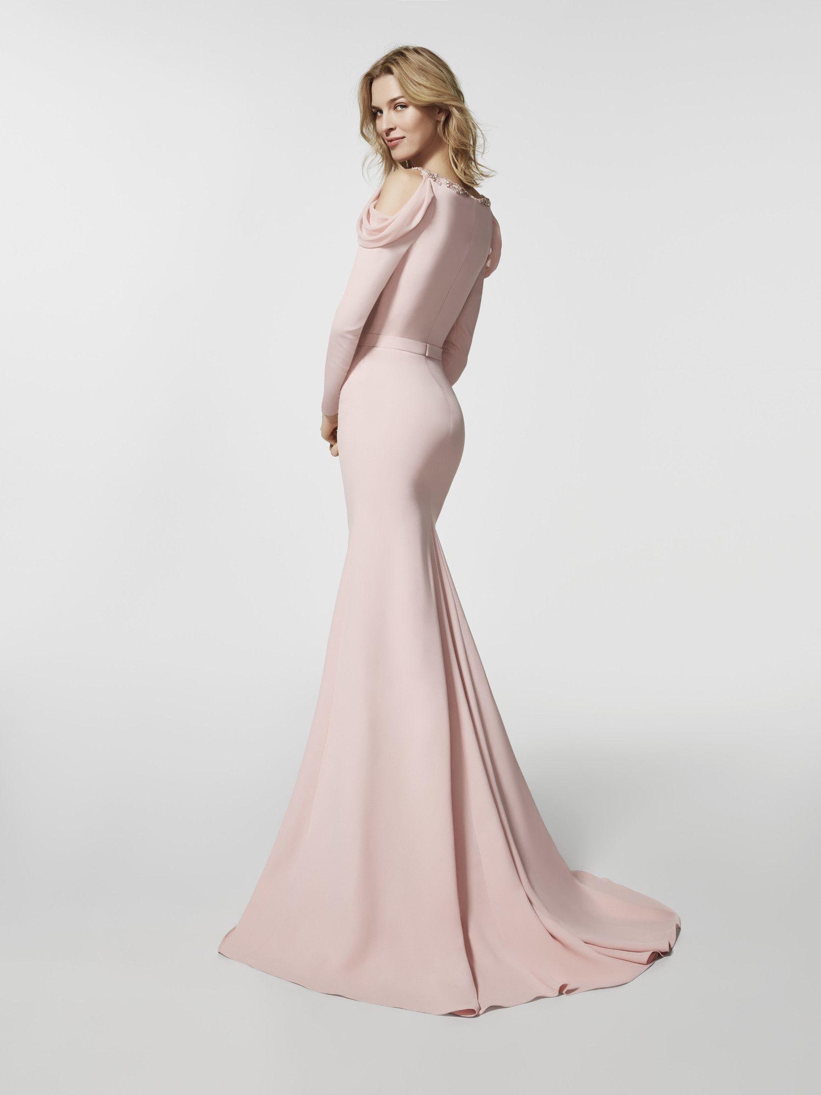 c56ae1f30 Imagen del vestido de fiesta rosa pálido (62063). Vestido GROVE largo manga  larga