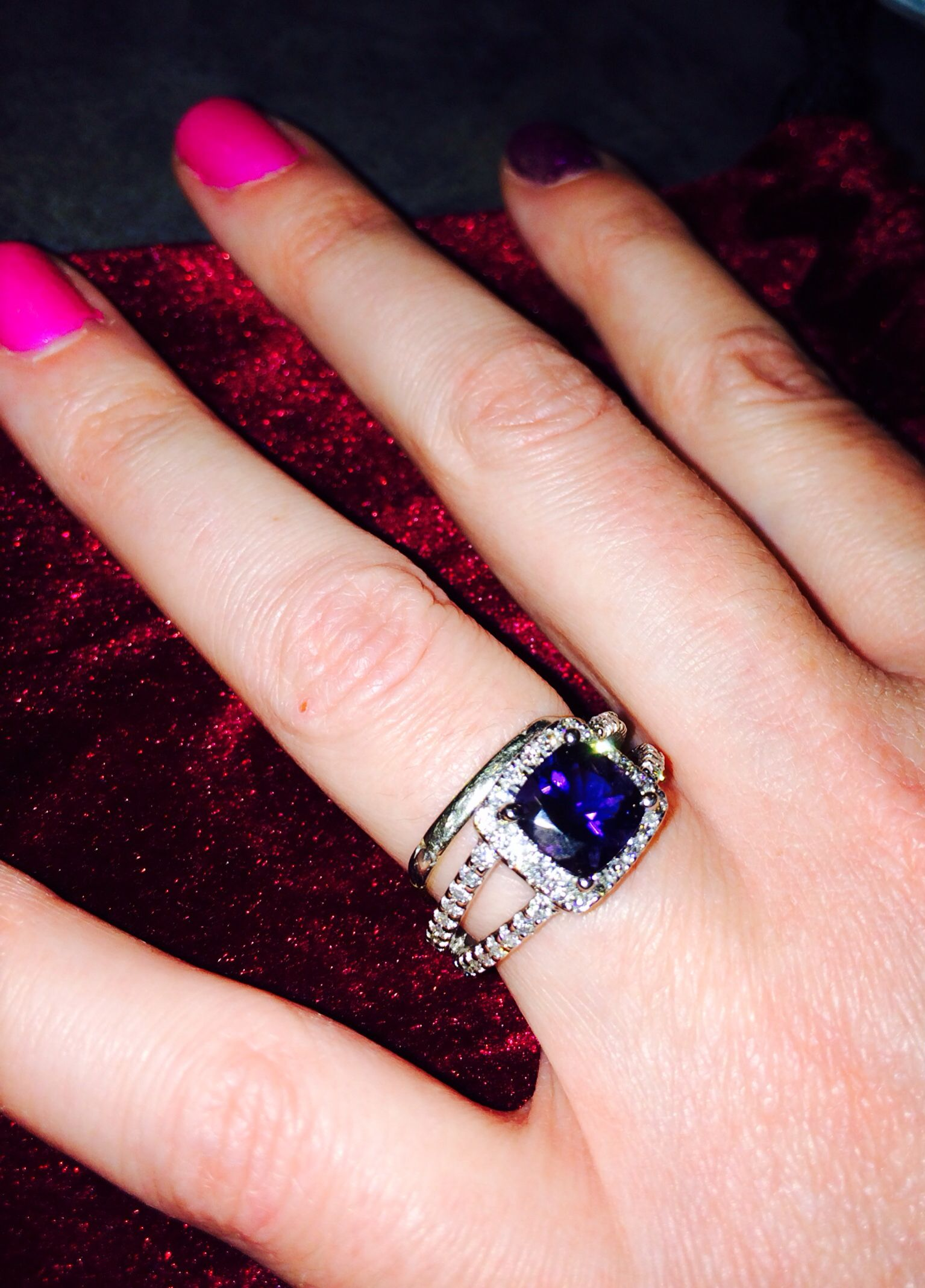 gemvara #lovemeincolor Iolite diamond Simone ring palladium ...