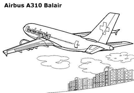 Airbus A310 Coloring Page Ilustrasi Warna Gambar
