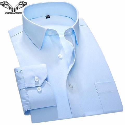 7057e06779c VISADA JAUNA New 2018 High Quality Men s Shirts Casual Men Shirt Plus Size  4XXL Shirt Men Slim Fit Social Shirts For Men N5859