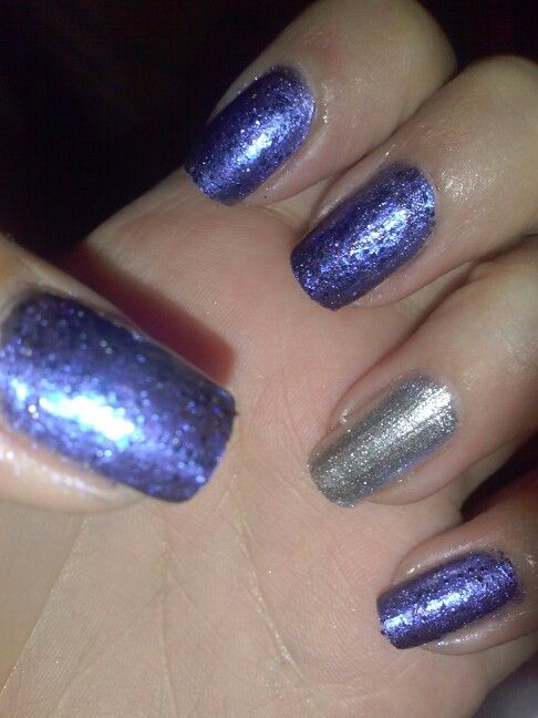 Blue and Silver Nails for Graduation
