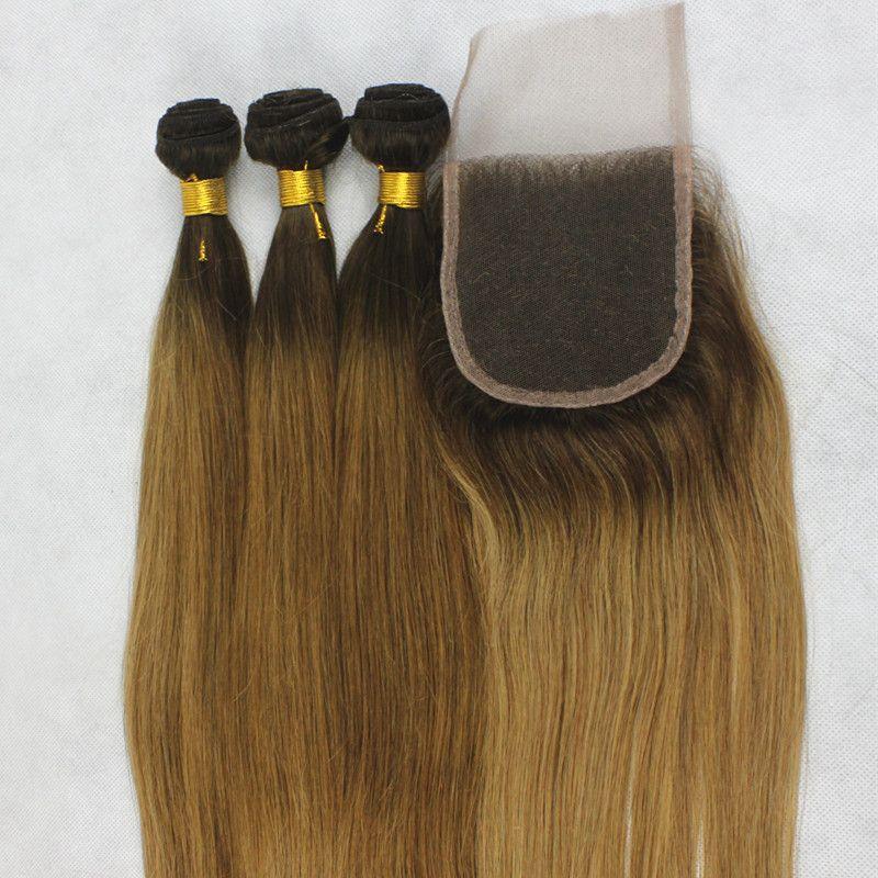 어두운 루트 꿀 금발 두 톤 선염 스트레이트 7A 브라질 인간의 처녀 머리 씨실 3 개 레이스 탑 폐쇄 직조 번들 세트