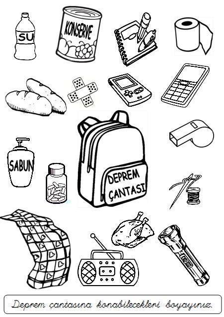 Deprem çantası Googleda Ara çizim Boyama Pinterest