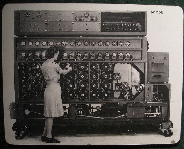 "This U.S. Navy ""bombe"" was one of many computers used to decrypt German military communiqués. It was much too large to fit inside a greeting card. Image source: J. Brew/Flickr."