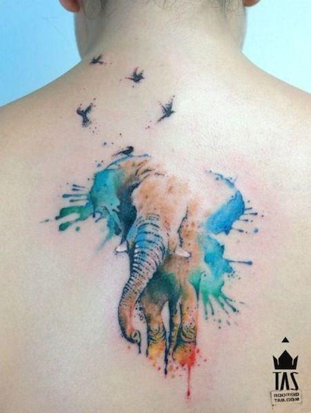 ... elephant by Rodrigo Tas Sao Paulo Brazil | back tattoos for women