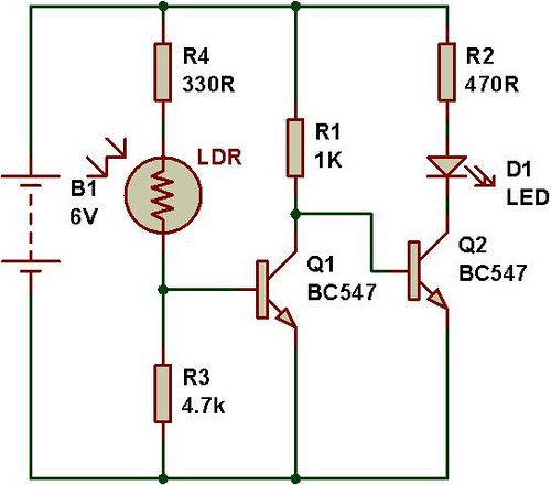 Dark sensor using transistor, photodiode and phototransistor | Pinterest