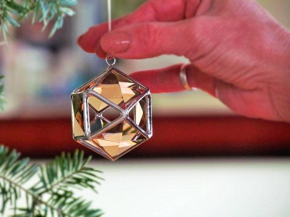 Christmas Tree Ornament, Peach Champagne Glass Crystal Geometric