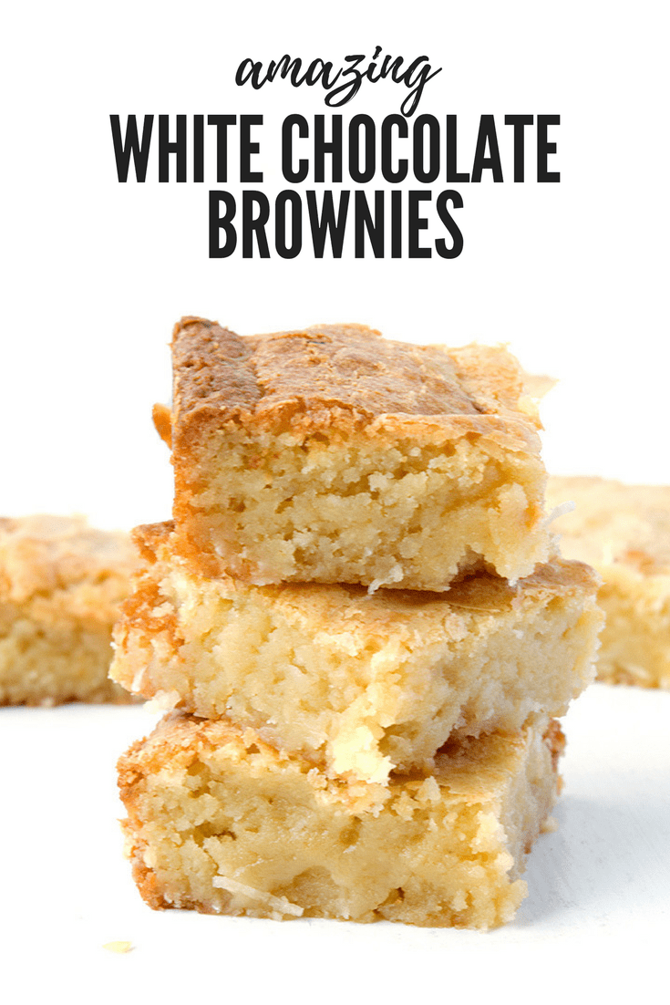 Have you ever made White Chocolate Brownies before? They're AMAZING! These soft and chewy buttery W