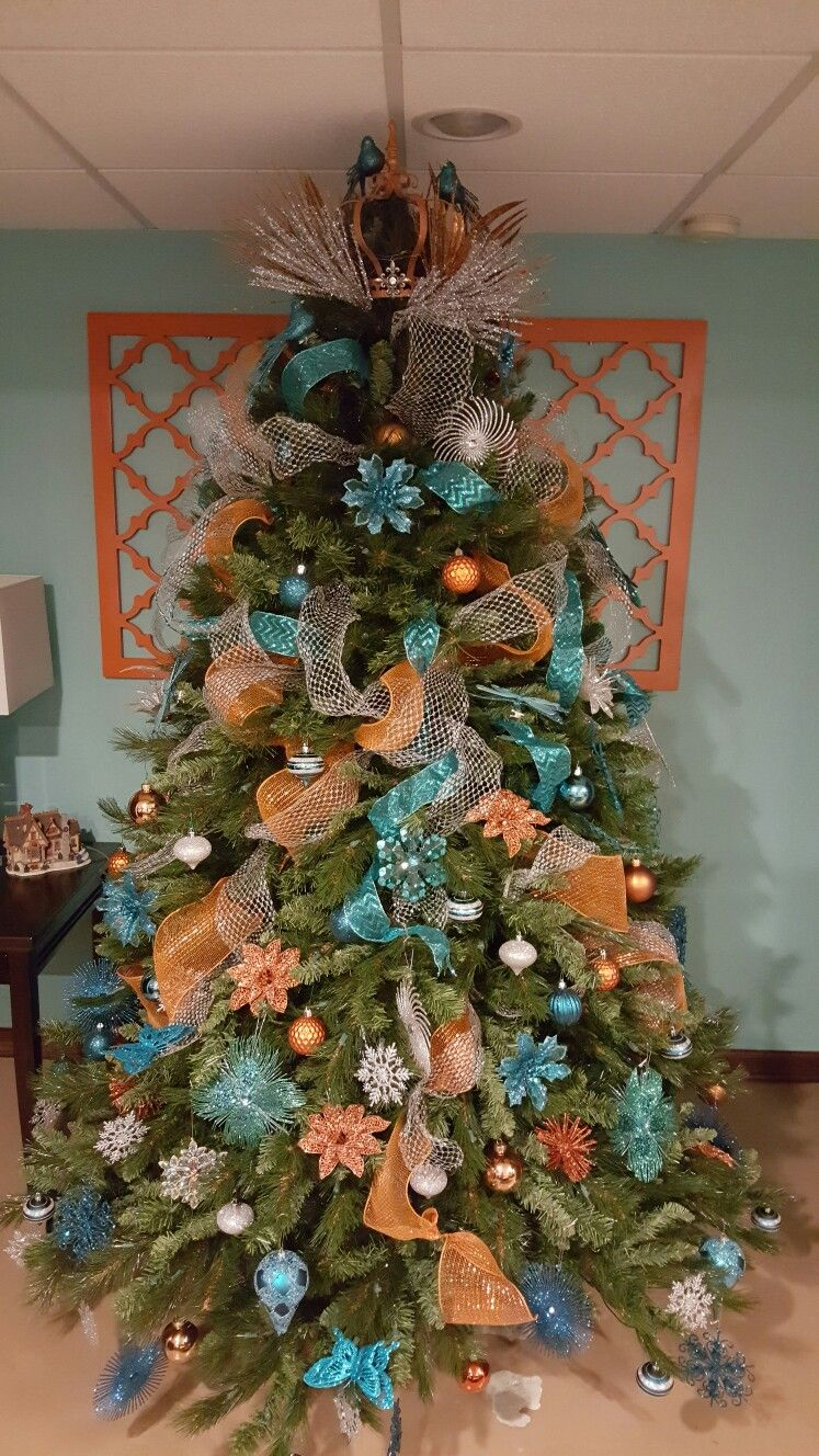 teal and orange christmas tree for my morroccan inspired basement