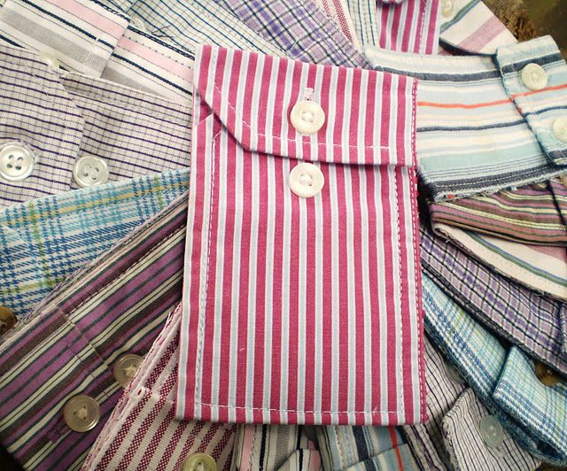 Little pouches made from the cuff of old shirts! Buttons are already there, just #sew shut in the right spots! Easy/cute!