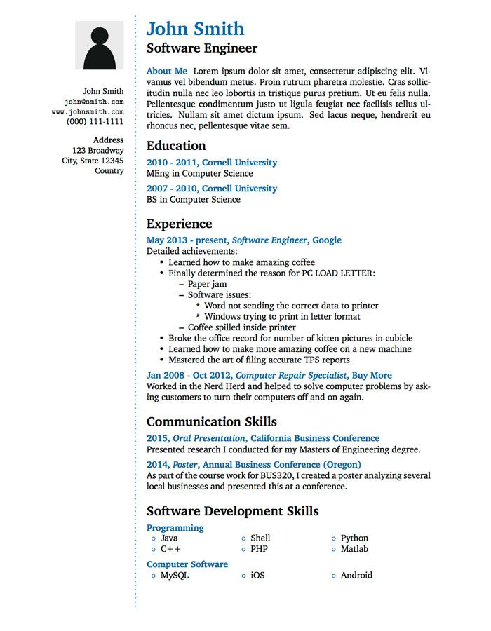 latex resume for freshers