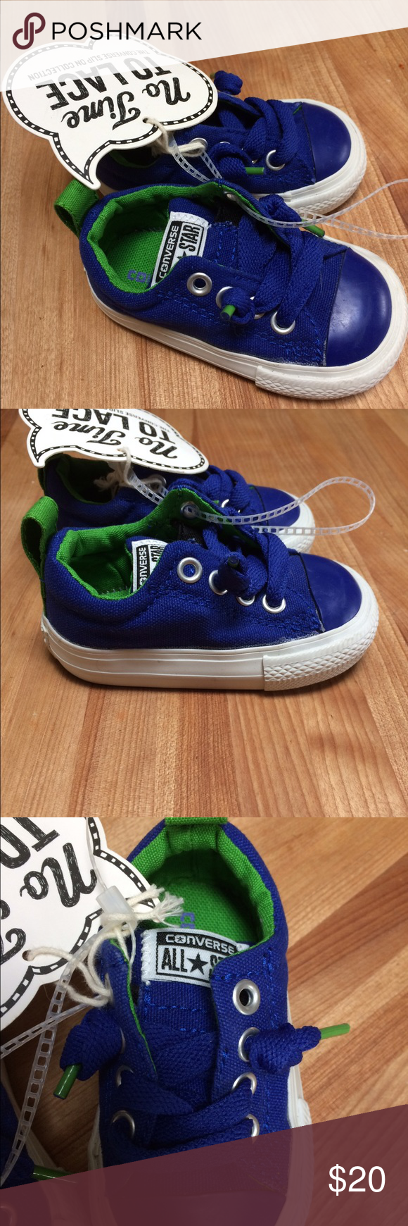 Baby Converse Royal blue with green inside. Slip on style