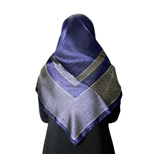 Dark Blue Colored Hijab with Light Silver Designer Scarf Only $10.99!
