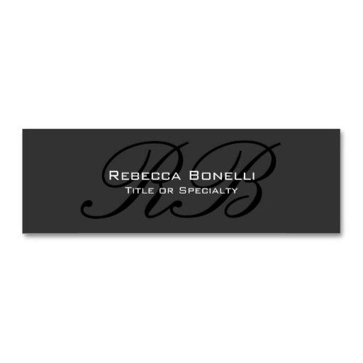 Skinny Gray Black White Monogram Business Card Printing Business Cards Spa Business Cards Dental Business Cards