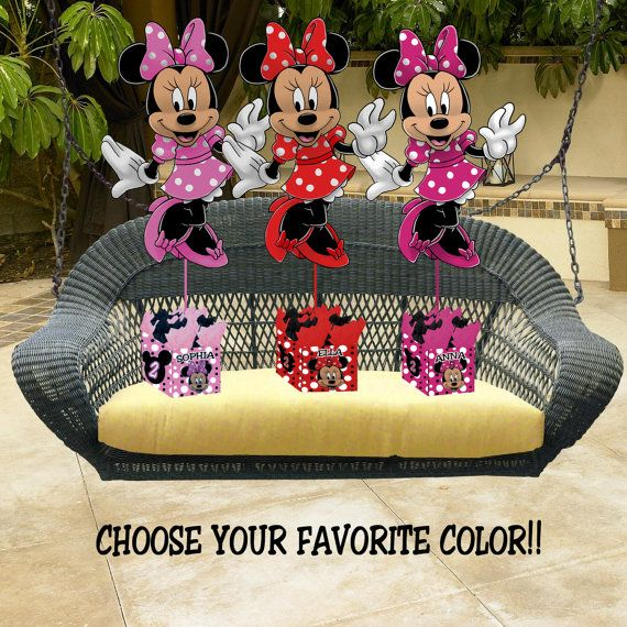 MINNIE MOUSE Birthday Party Centerpiece - 3 feet tall - 36 inches - Mickey Mouse Clubhouse Red Light Pink Dark Pink Zebra via Etsy