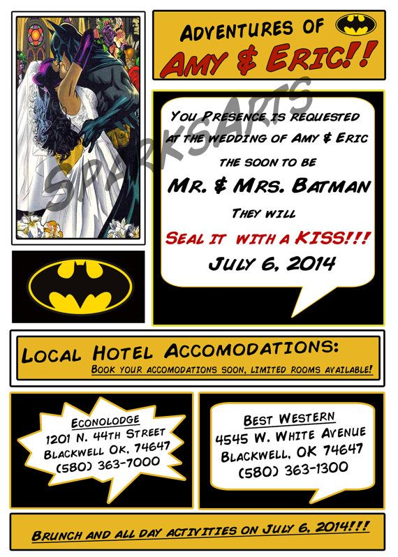 Superhero Wedding Batman Invitation Set Printable By Sparksarts