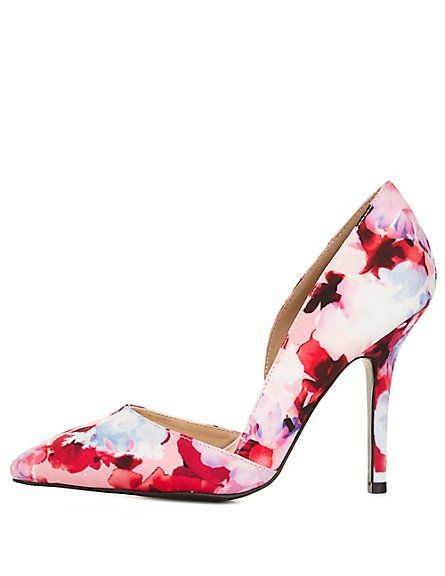 3fb90b6ee5e Qupid Pointed Toe Floral D Orsay Pumps  Charlotte Russe  CRshocloset  floral   heels