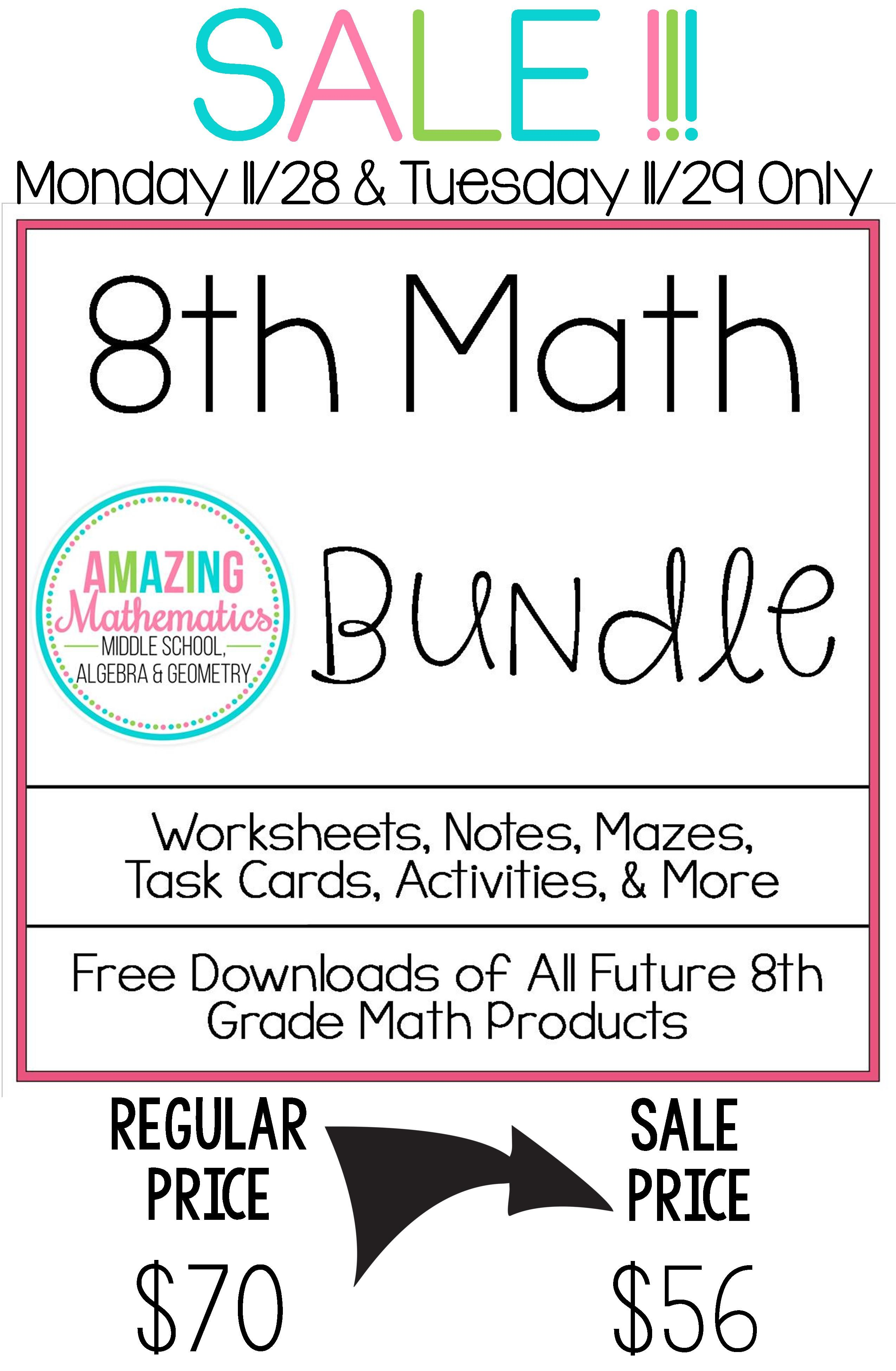 8th Grade Math Bundle All My 8th Grade Math Products At