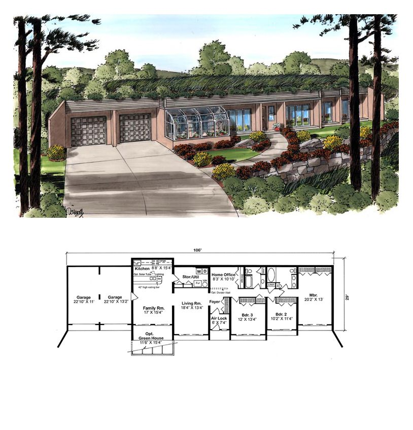 Retro Style House Plan 10376 With 3 Bed 2 Bath 2 Car Garage Solar House Plans Earthship Home Underground Homes