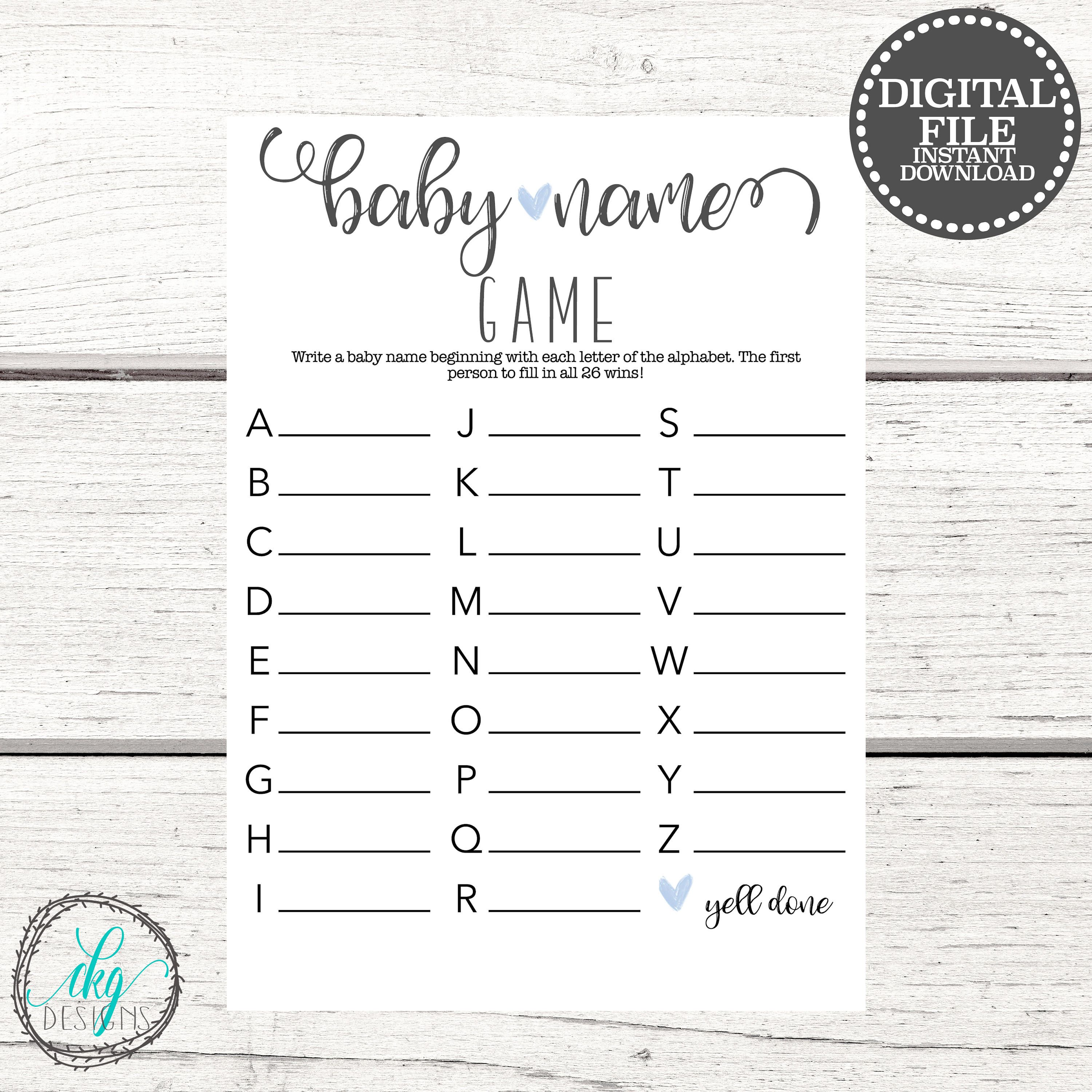 Baby Name Game Baby Shower Games DIY Baby Shower Games