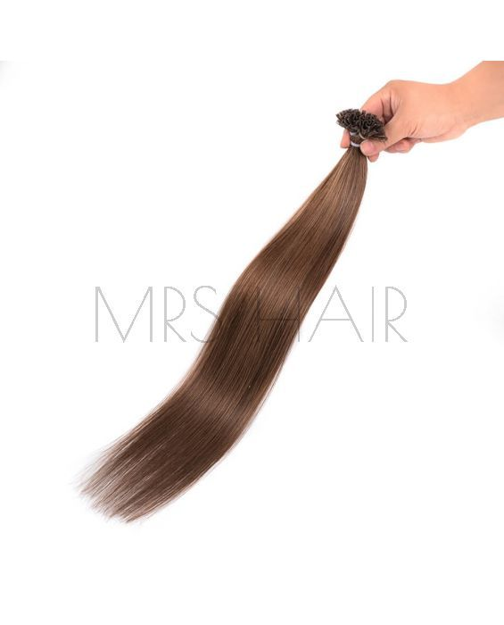 Remy U Tip Hair Extensions Straight Pre Bonded Hair 6 Light Brown