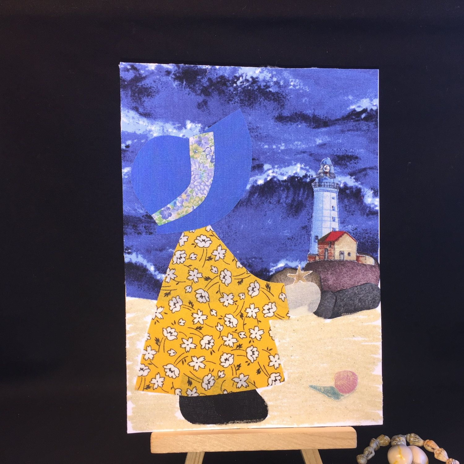 Ooak lighthouse card handmade recycled fabric greeting card travel ooak lighthouse card handmade recycled fabric greeting card travel card bon voyage card kristyandbryce Choice Image