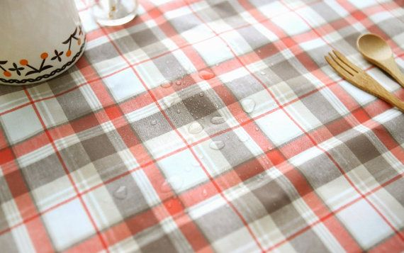 """Laminated Cotton Fabric by the yard Check Pattern _ Orange Brown_59"""" wide 140397"""
